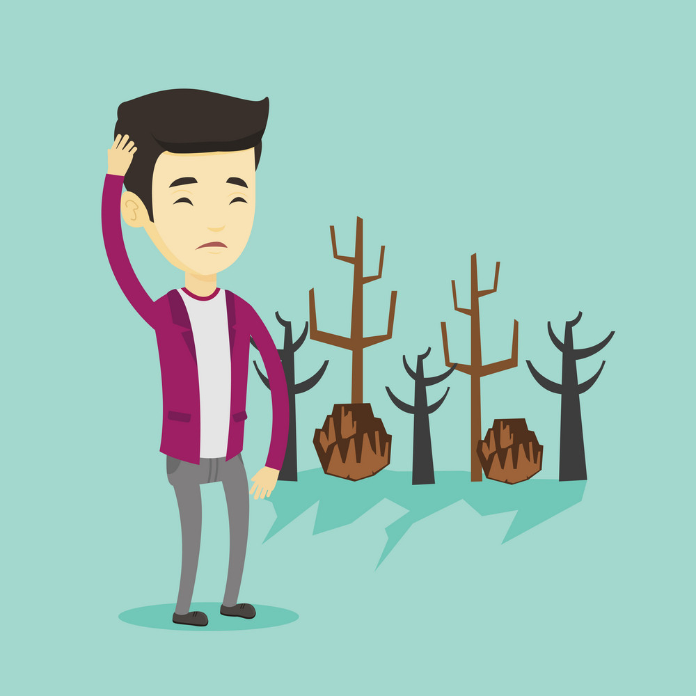 Asian man scratching head on the background of dead forest. Dead forest caused by global warming or wildfire. Concept of environmental destruction. Vector flat design illustration. Square layout.