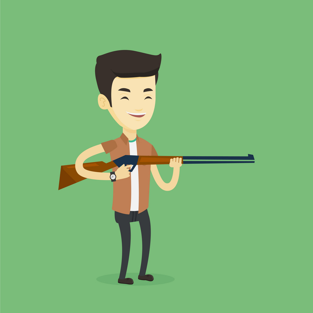 Asian man shooting skeet with shotgun. Hunter ready to hunt with hunting rifle. Young man aiming with a hunter gun. Hunter holding a long rifle. Vector flat design illustration. Square layout.