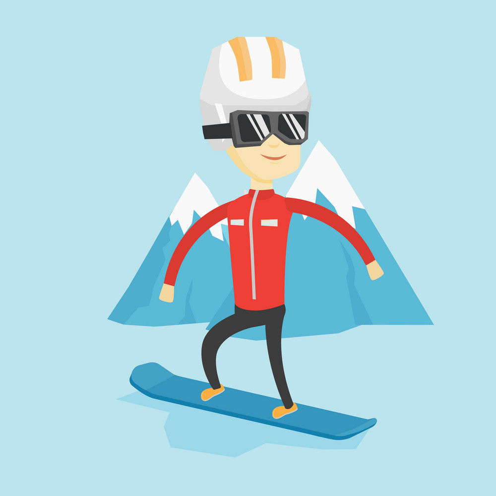 Asian man snowboarding on the background of snow capped mountain. Snowboarder on piste in mountains. Young man snowboarding in the mountains. Vector flat design illustration. Square layout.