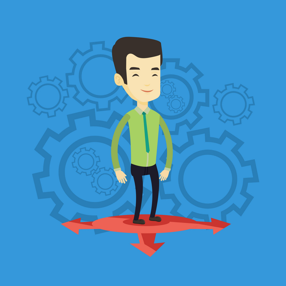 Asian man standing on three alternative career ways. Smiling man choosing career way. Man making a decision of his career. Concept of choice of career. Vector flat design illustration. Square layout.