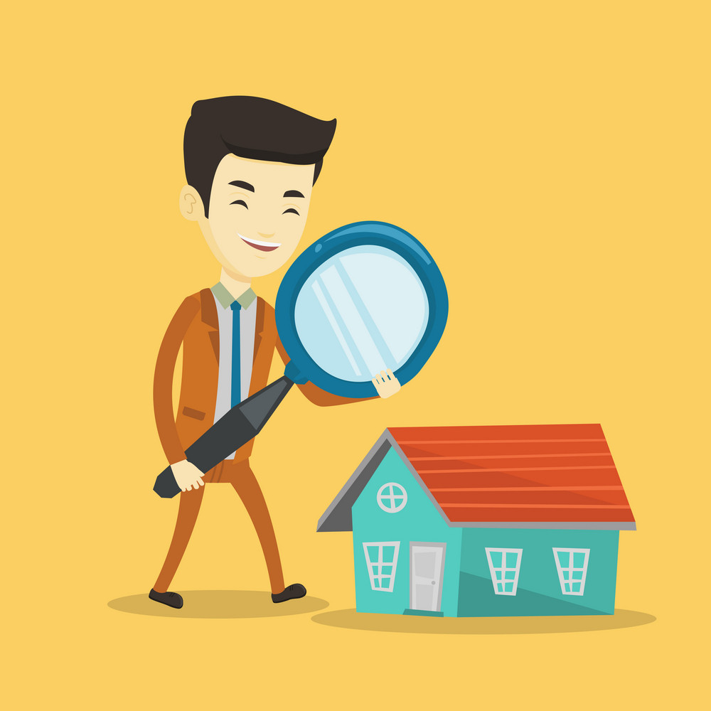 Asian man using a magnifying glass for looking for a new house. Young man with a magnifying glass checking a house. Man analyzing house with loupe. Vector flat design illustration. Square layout.