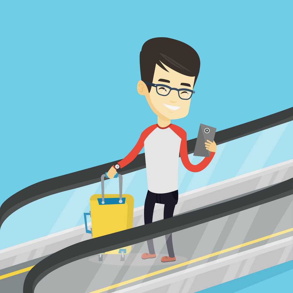 Asian man using smartphone on escalator in airport. Man standing on escalator with suitcase and looking at mobile phone. Man going down on escalator. Vector flat design illustration. Square layout.