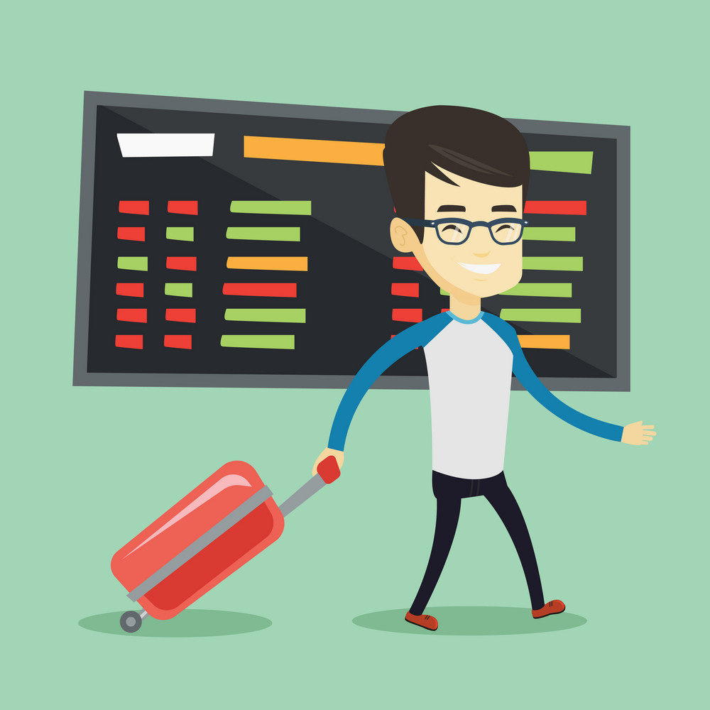 Asian man walking at the airport. Passenger with suitcase walking on the background of schedule board at the airport. Man pulling suitcase in airport. Vector flat design illustration. Square layout.
