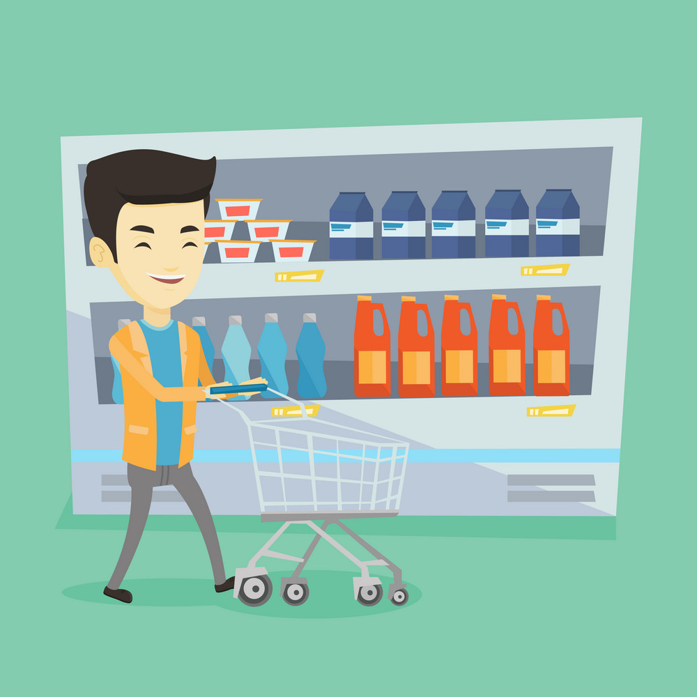 Asian man walking with cart on aisle at supermarket. Young smiling man pushing an empty supermarket cart. Customer shopping at supermarket with cart. Vector flat design illustration. Square layout.