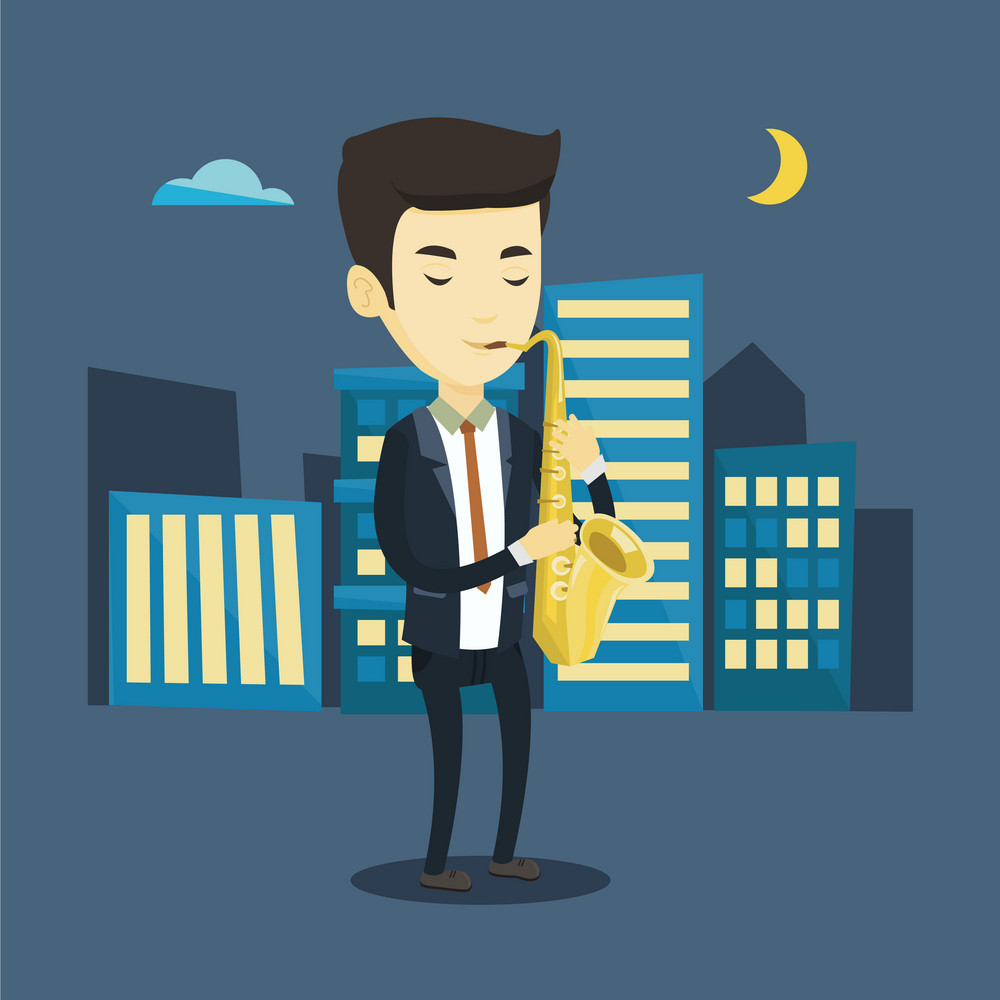 Asian man with eyes closed playing on saxophone in the night. Pleased musician playing on saxophone. Young musician with saxophone in the city street. Vector flat design illustration. Square layout.