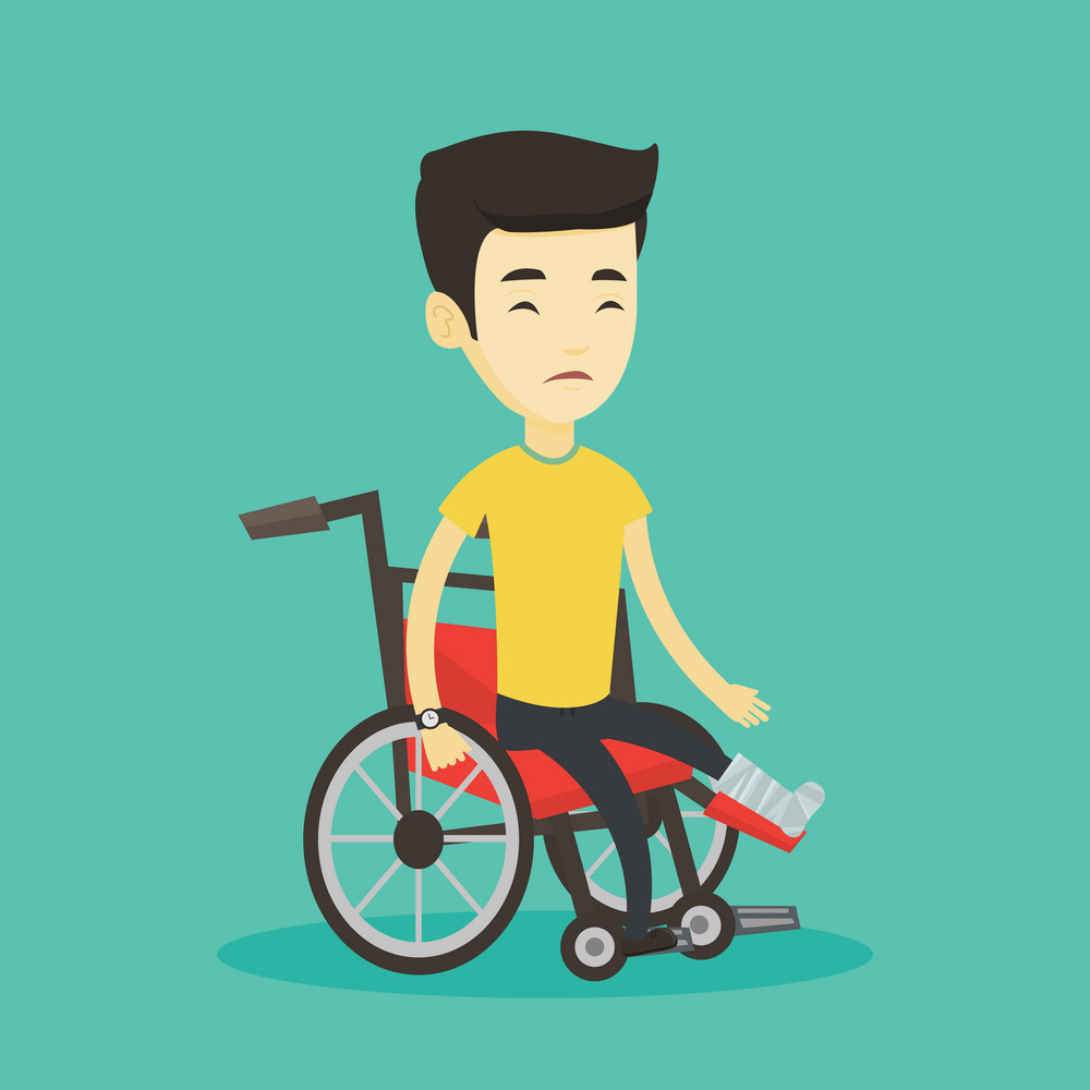 Asian man with leg in plaster suffering from pain. Injured upset man sitting in wheelchair with broken leg. Man with fractured leg sitting in wheelchair. Vector flat design illustration. Square layout