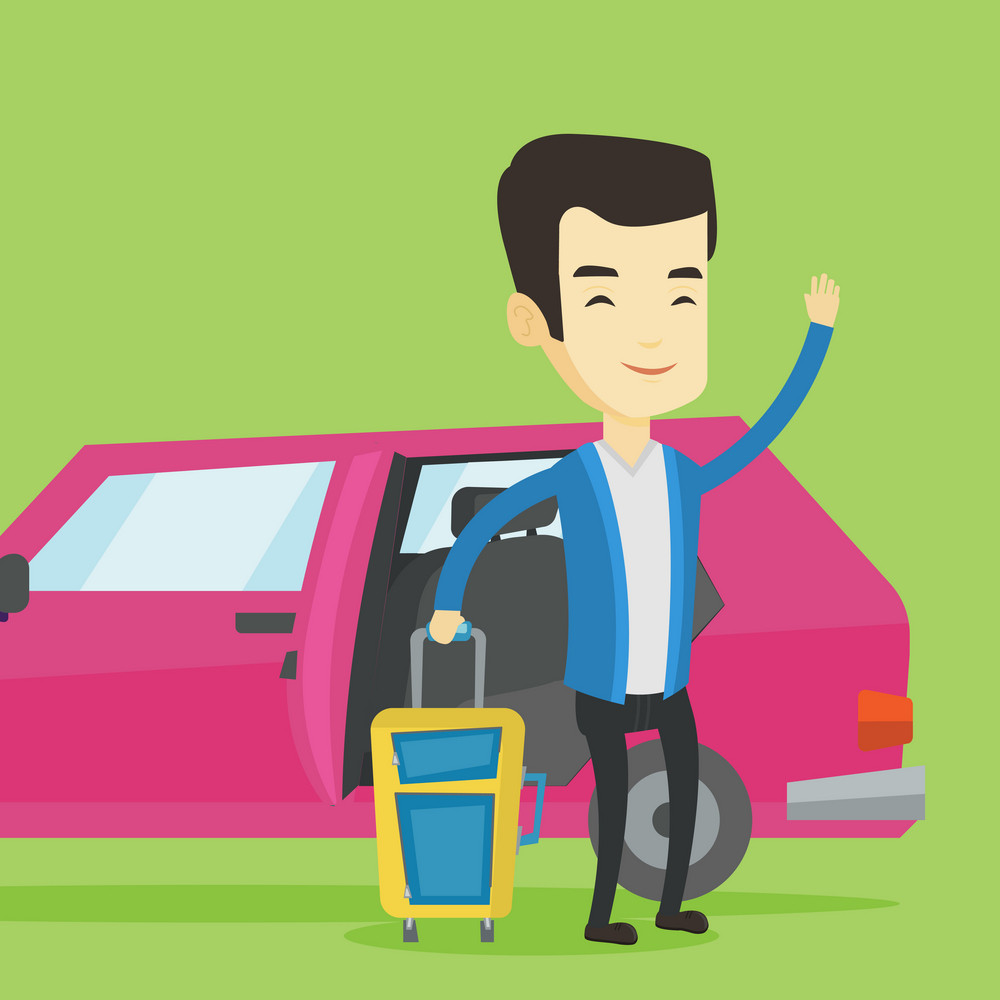 Asian man with suitcase standing on the background of car with open door. Young happy man waving in front of car. Happy man going to vacation by car. Vector flat design illustration. Square layout.