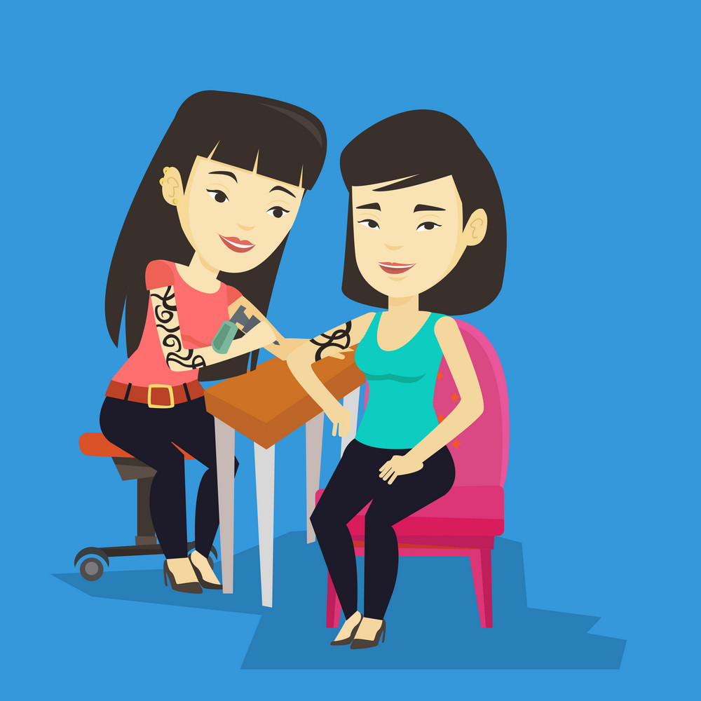 Asian master tattoo artist makes a tattoo on the hand of young woman. Tattooist makes a tattoo to a female client. Professional tattoo artist at work. Vector flat design illustration. Square layout.