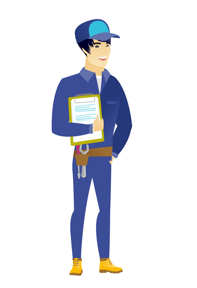 Asian mechanic holding clipboard with papers. Full length of mechanic with papers. Young smiling mechanic holding papers. Vector flat design illustration isolated on white background.