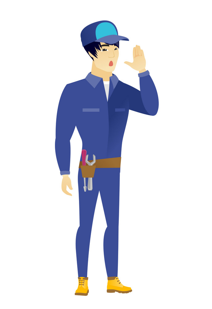 Asian mechanic lost and calling for help. Full length of young mechanic calling for help. Mechanic in trouble calling for help. Vector flat design illustration isolated on white background.
