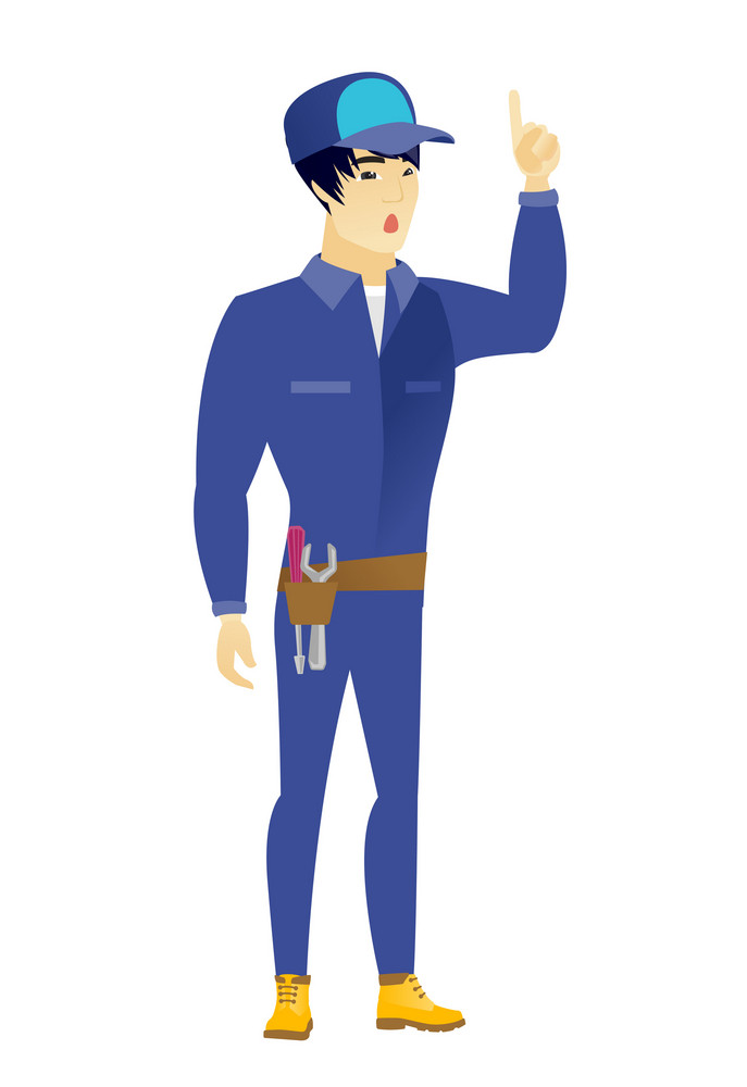 Asian mechanic with open mouth pointing finger up. Full length of young mechanic with open mouth came up with successful idea. Vector flat design illustration isolated on white background.