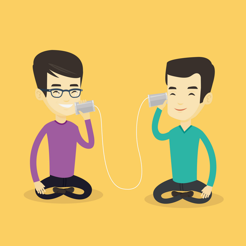 Asian men discussing something using tin can telephone. Hipster man getting message from friend on tin can phone. Friends talking through a tin phone. Vector flat design illustration. Square layout.