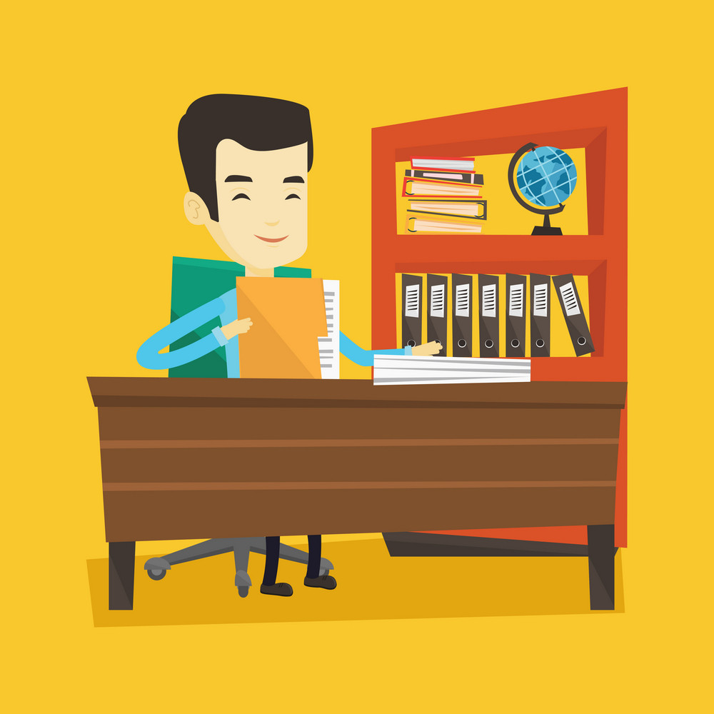 Asian office worker working with documents. Young office worker sitting at the table with documents. Smiling office worker inspecting documents. Vector flat design illustration. Square layout.