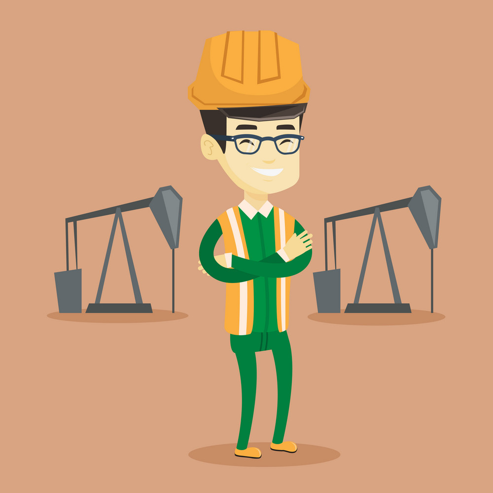 Asian oil worker in uniform and helmet. Confident oil worker standing with crossed arms. Smiling oil worker standing on the background of pump jack. Vector flat design illustration. Square layout.