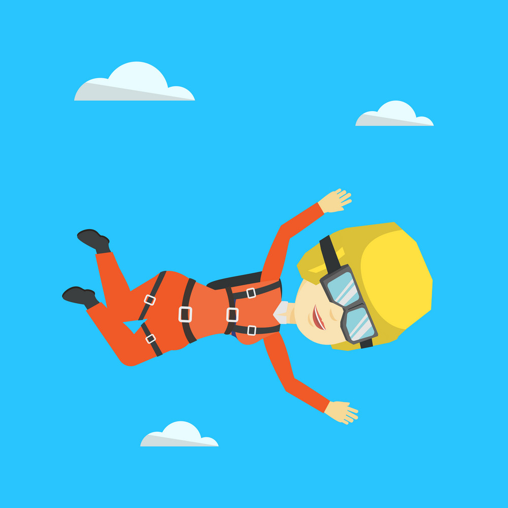 Asian parachutist jumping with parachute. Professional female parachutist falling through the air. Happy young woman flying with parachute in clouds. Vector flat design illustration. Square layout.