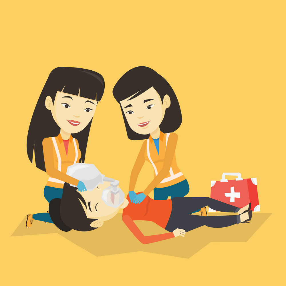 Asian paramedics doing cardiopulmonary resuscitation of a young wman. Team of emergency doctors during process of resuscitation of an injured woman. Vector flat design illustration. Square layout.