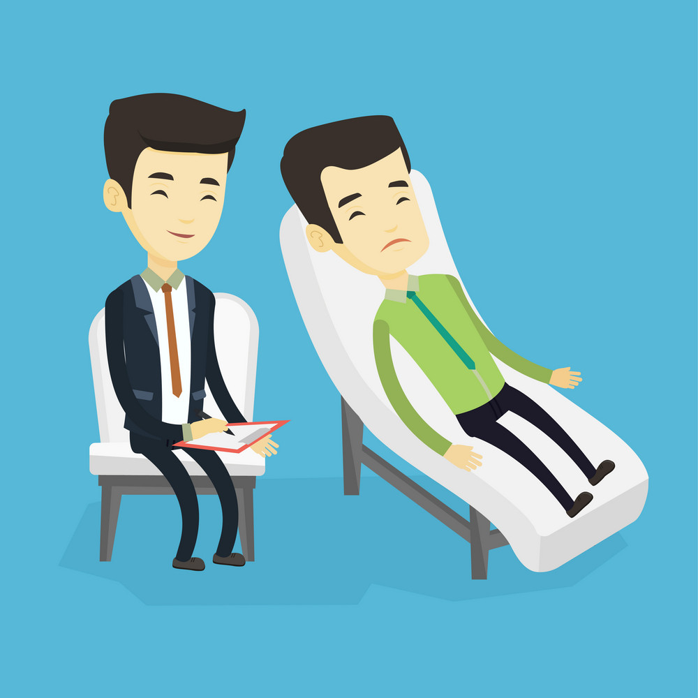 Asian patient lying on sofa and talking about problems with psychotherapist or psychologist. Psychologist having session with patient in depression. Vector flat design illustration. Square layout.
