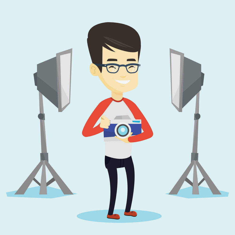 Asian photographer holding a camera in photo studio. Photographer using professional camera in the studio. Young photographer taking a photo. Vector flat design illustration. Square layout.