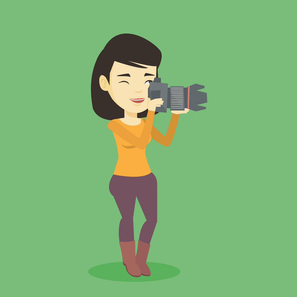 Asian photographer working with digital camera. Female photographer taking a photo. Young photographer taking a picture. Vector flat design illustration. Square layout.