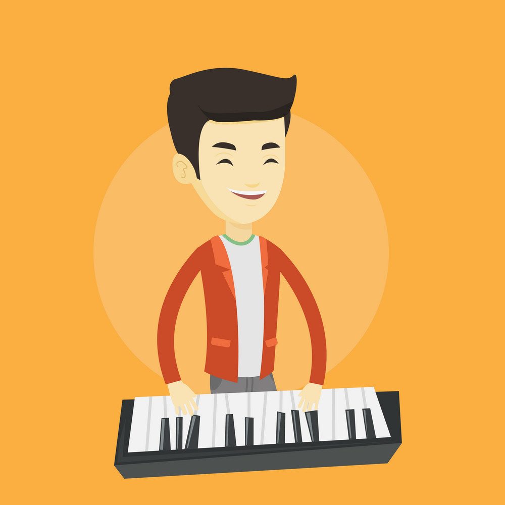 Asian pianist playing on synthesizer. Young smiling musician playing piano. Cheerful pianist playing upright piano. Vector flat design illustration. Square layout.
