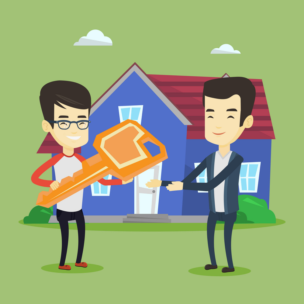 Asian real estate agent passing house keys to a new owner. Friendly real estate agent giving key to a new owner of house. Young man buying a new house. Vector flat design illustration. Square layout.