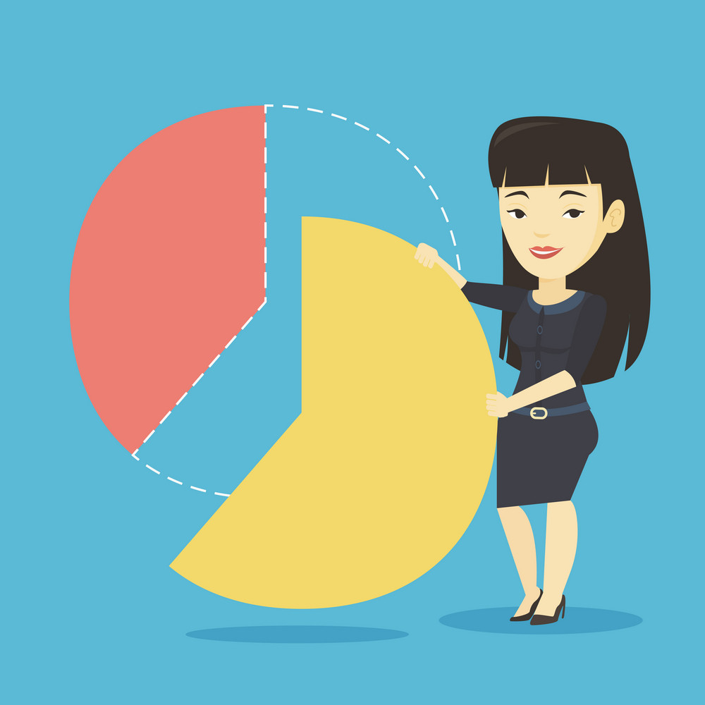 Asian shareholder taking her share of financial pie chart. Shareholder getting her share of profit. Shareholder sharing profit. Woman dividing pie chart. Vector flat design illustration. Square layout