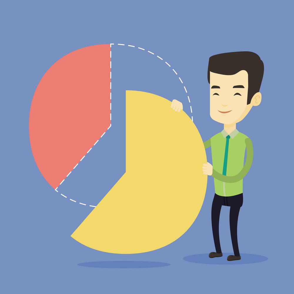 Asian shareholder taking his share of financial pie chart. Shareholder getting his share of profit. Shareholder sharing profit. Man dividing pie chart. Vector flat design illustration. Square layout.