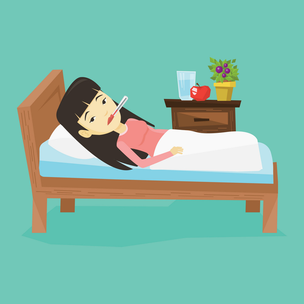 Asian sick woman with fever laying in bed. Sick woman measuring temperature with thermometer in mouth. Sick woman suffering from cold or flu virus. Vector flat design illustration. Square layout.