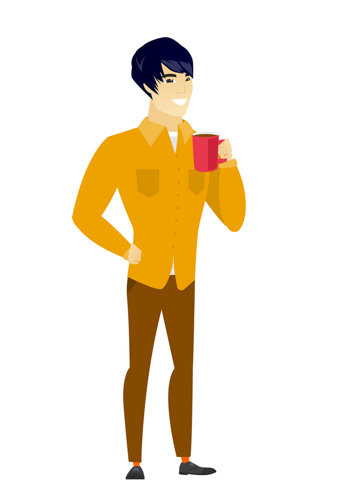 Asian  smiling businessman holding cup of coffee. Full length of businessman drinking coffee. Happy businessman with cup of coffee. Vector flat design illustration isolated on white background.
