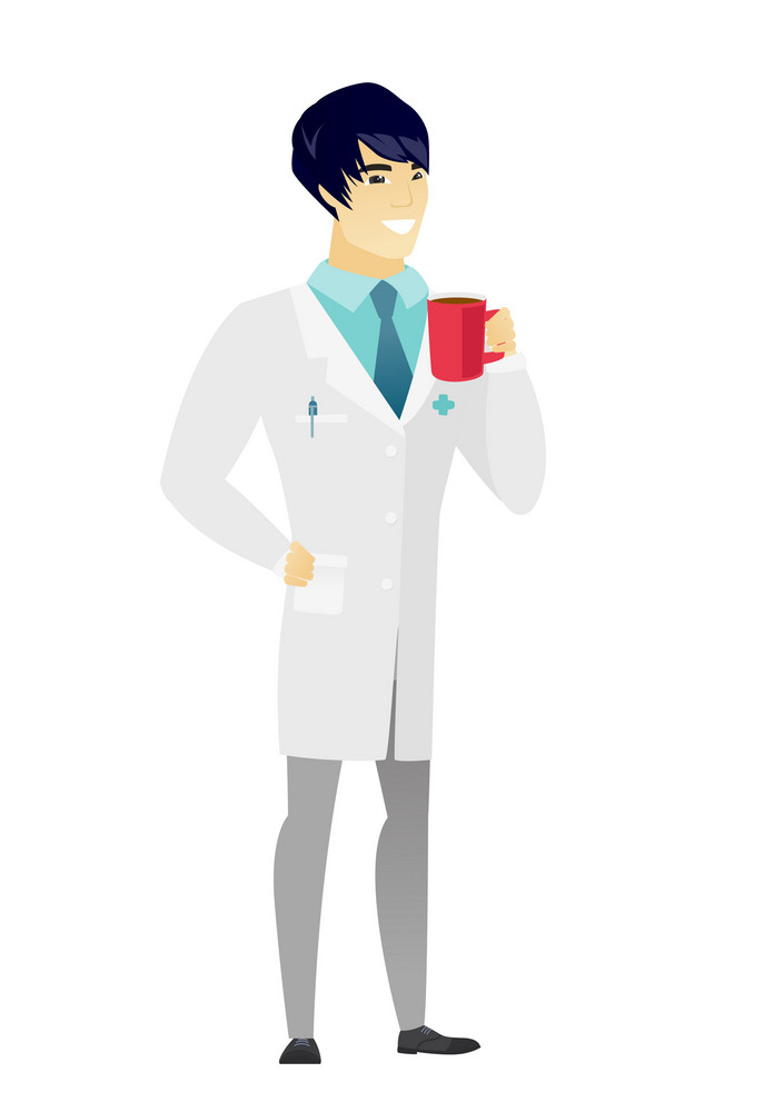 Asian smiling doctor in medical gown holding cup of coffee. Full length of young doctor drinking coffee. Happy doctor with cup of coffee. Vector flat design illustration isolated on white background.