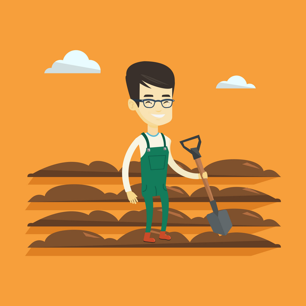 Asian smiling farmer standing with shovel on the background of plowed field. Young man working in field with a shovel. Man plowing field with a shovel. Vector flat design illustration. Square layout.
