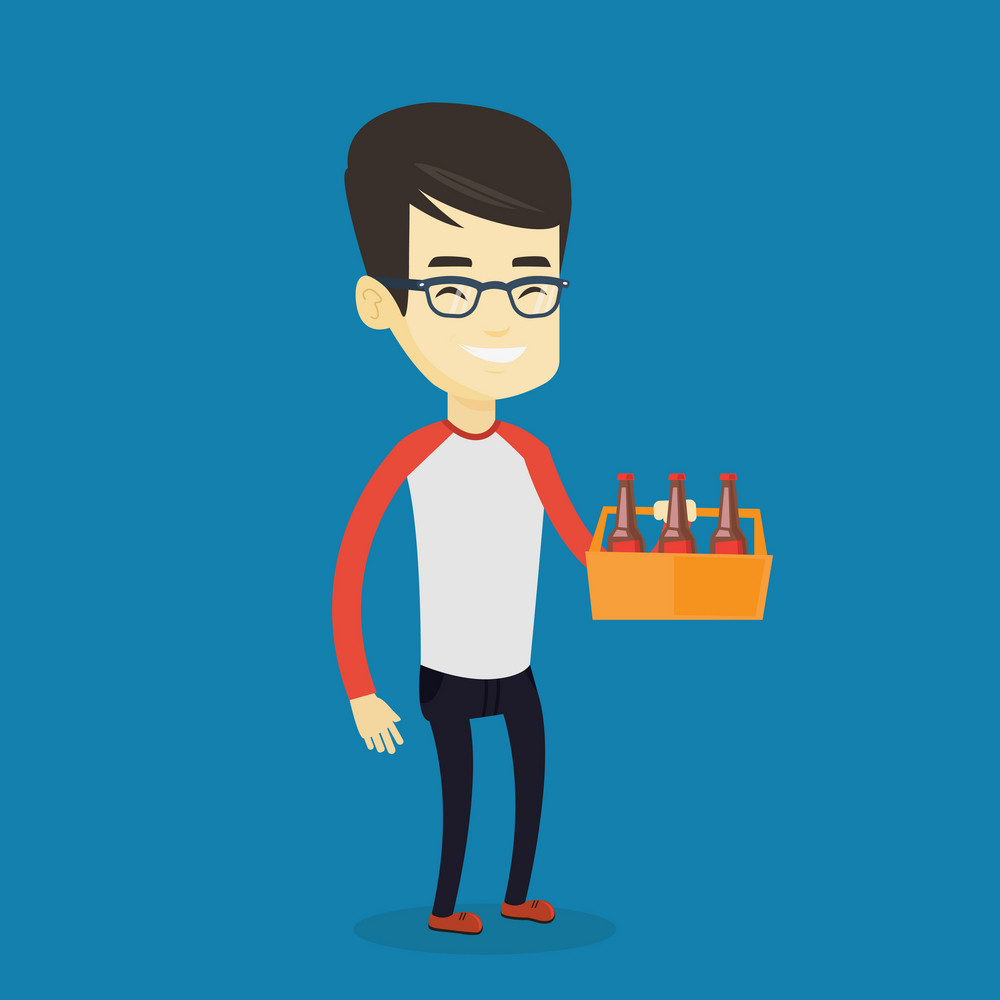 Asian smiling man buying beer. Happy man holding pack of beer. Full length of cheerful man carrying a six pack of beer. Vector flat design illustration. Square layout.