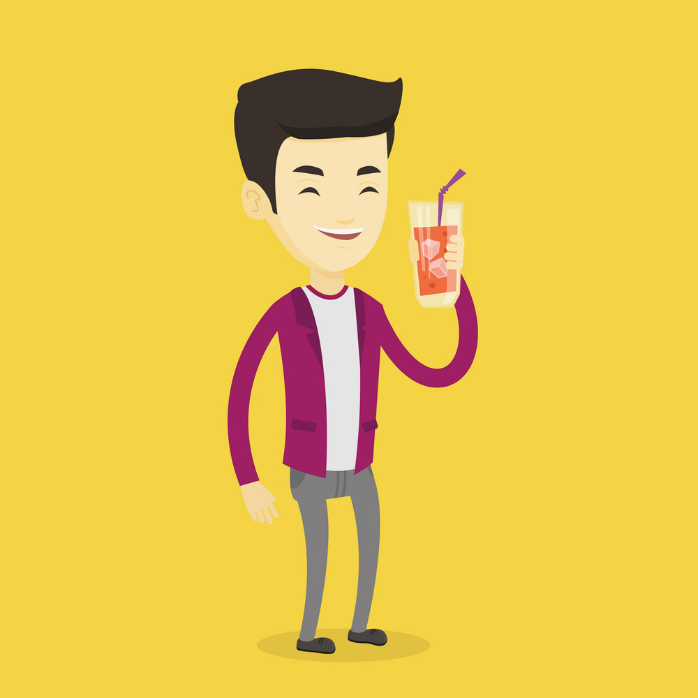 Asian smiling man holding cocktail glass with drinking straw. Joyful man drinking a cocktail. Young happy man celebrating with a cocktail. Vector flat design illustration. Square layout.