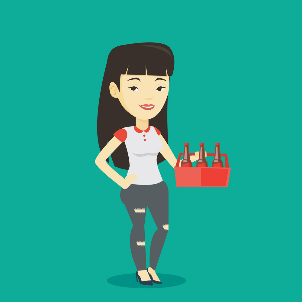 Asian smiling woman buying beer. Happy woman holding pack of beer. Full length of cheerful woman carrying a six pack of beer. Vector flat design illustration. Square layout.