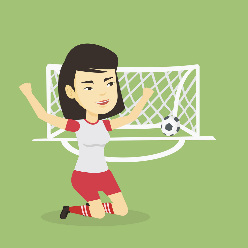 Asian soccer player celebrating scoring goal. Young football player kneeling with raised arms on the background of football gate with ball in it. Vector flat design illustration. Square layout.