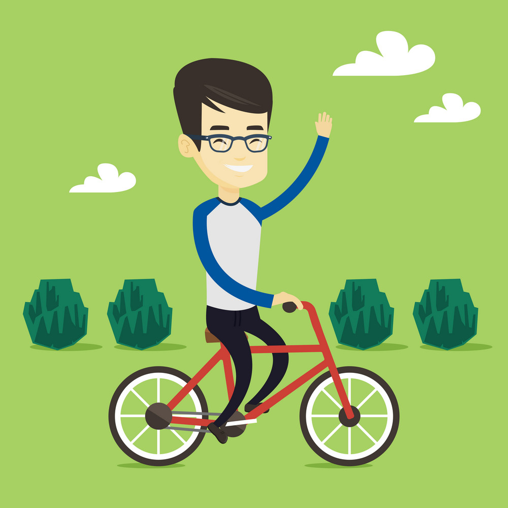 Asian sportive man riding a bicycle in the park. Cyclist riding bicycle and waving hand. Young man on a bicycle outdoors. Healthy lifestyle concept. Vector flat design illustration. Square layout.