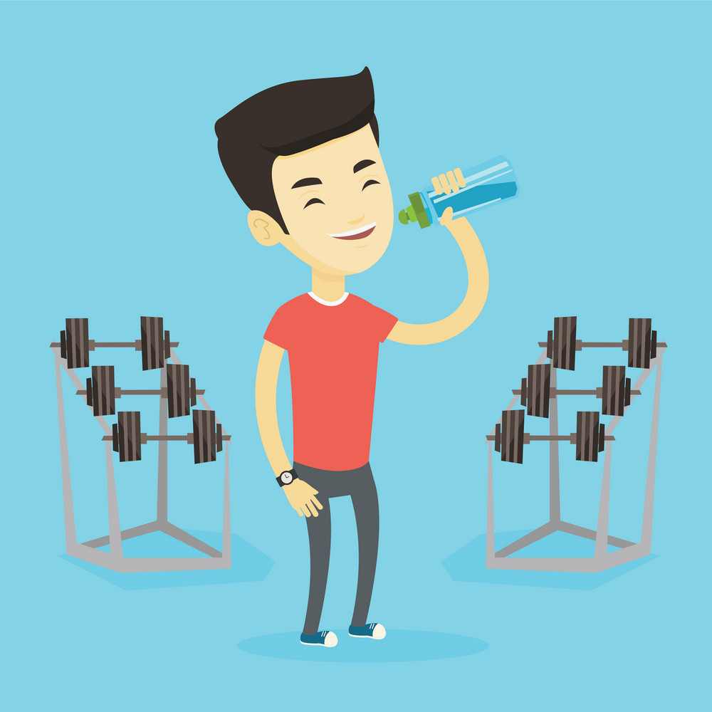 Asian sportsman drinking water. Young sportsman standing with bottle of water in the gym. Smiling sportsman drinking water from the bottle. Vector flat design illustration. Square layout.
