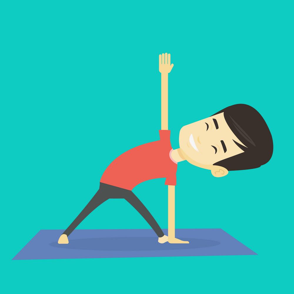 Asian sportsman meditating in yoga triangle position. Cheerful sportsman standing in yoga triangle position. Young sporty man doing yoga on the mat. Vector flat design illustration. Square layout.