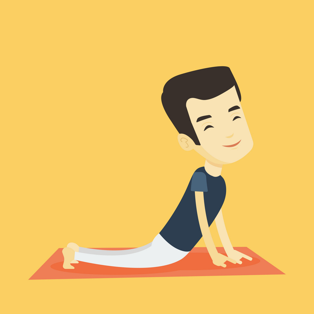 Asian sportsman meditating in yoga upward dog position. Young happy sportsman practicing yoga upward dog pose. Sporty man doing yoga on the mat. Vector flat design illustration. Square layout.