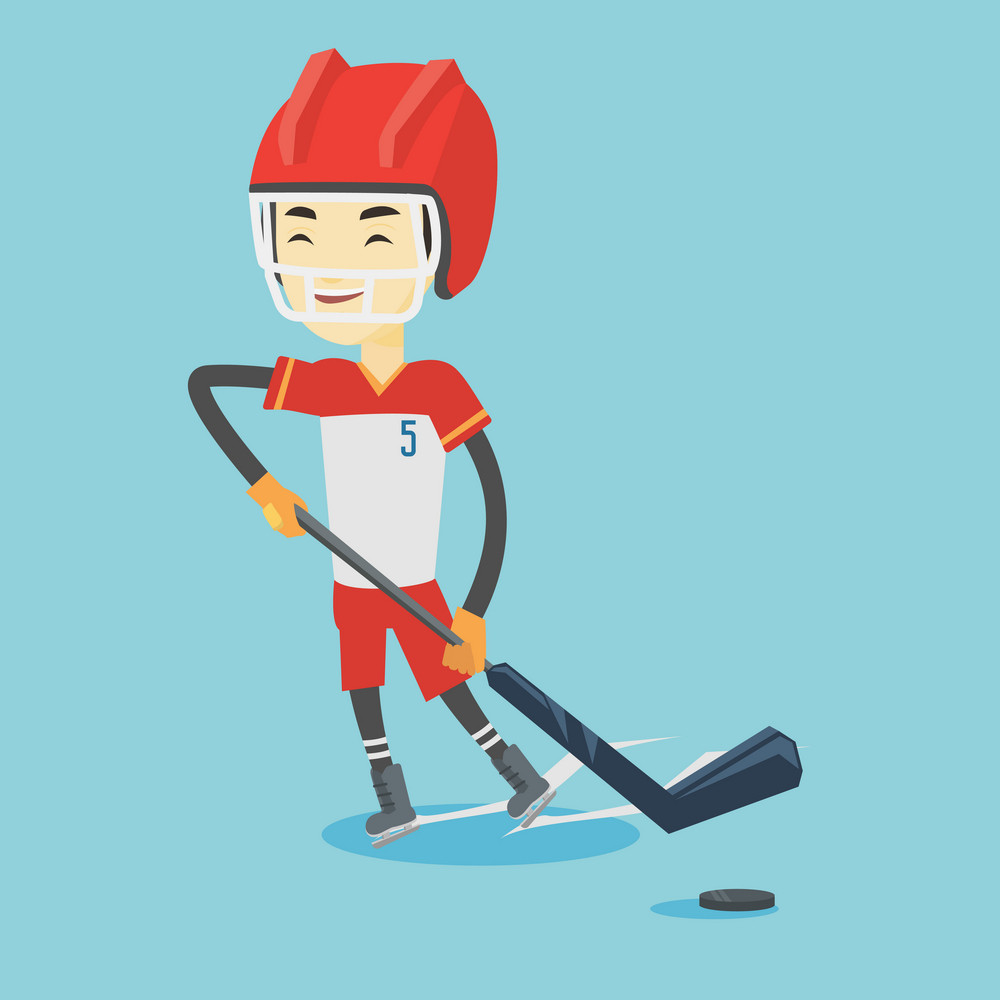 Asian sportsman playing ice hockey. Young ice hockey player in uniform skating on a rink. Smiling ice hockey player with a stick and puck. Vector flat design illustration. Square layout.