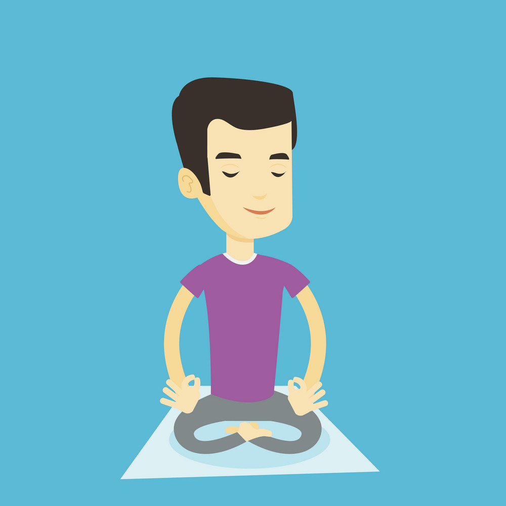 Asian sportsman relaxing in the yoga lotus position. Young sportsman meditating in yoga lotus position. Relaxed sporty man doing yoga on the mat. Vector flat design illustration. Square layout.