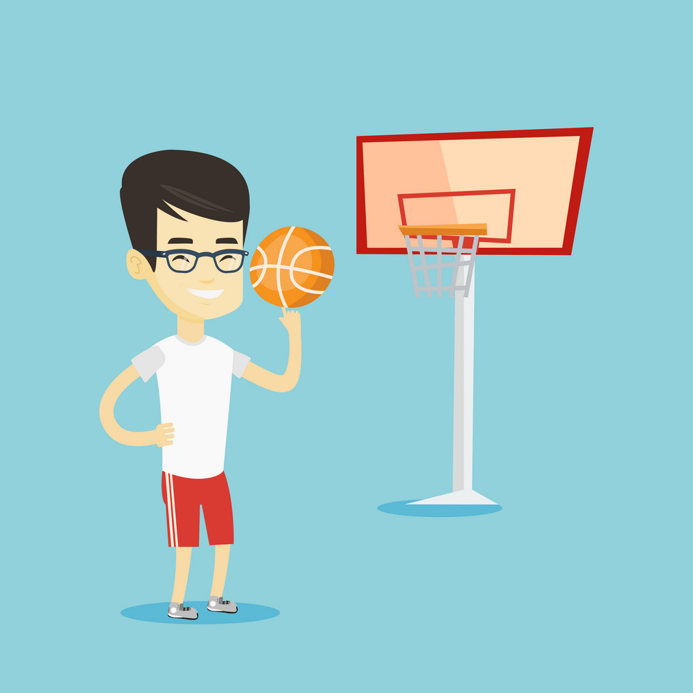 Asian sportsman spinning basketball ball on his finger. Young basketball player standing on the basketball court. Basketball player in action. Vector flat design illustration. Square layout.