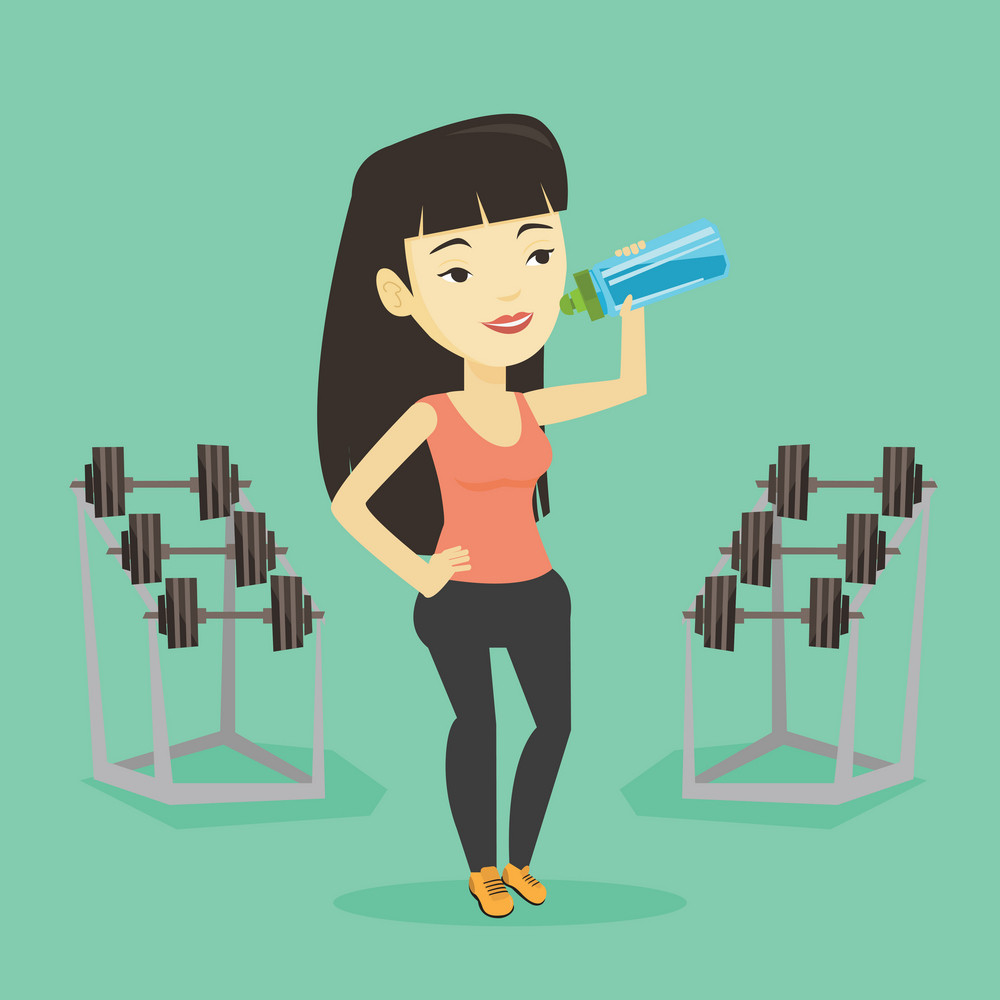 Asian sportswoman drinking water. Young sportswoman standing with bottle of water in the gym. Smiling sportswoman drinking water from the bottle. Vector flat design illustration. Square layout.