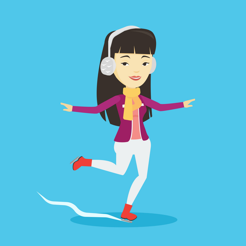 Asian sportswoman ice skating. Young smiling woman ice skating. Woman at skating rink. Female figure skater posing on skates. Vector flat design illustration. Square layout.
