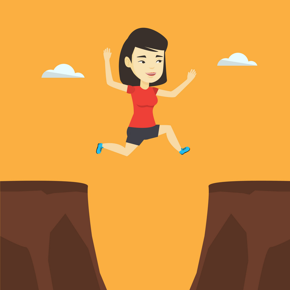 Asian sportswoman jumping across the gap from one rock to another. Smiling sportswoman jumping over rocks with gap. Young sportswoman running. Vector flat design illustration. Square layout.