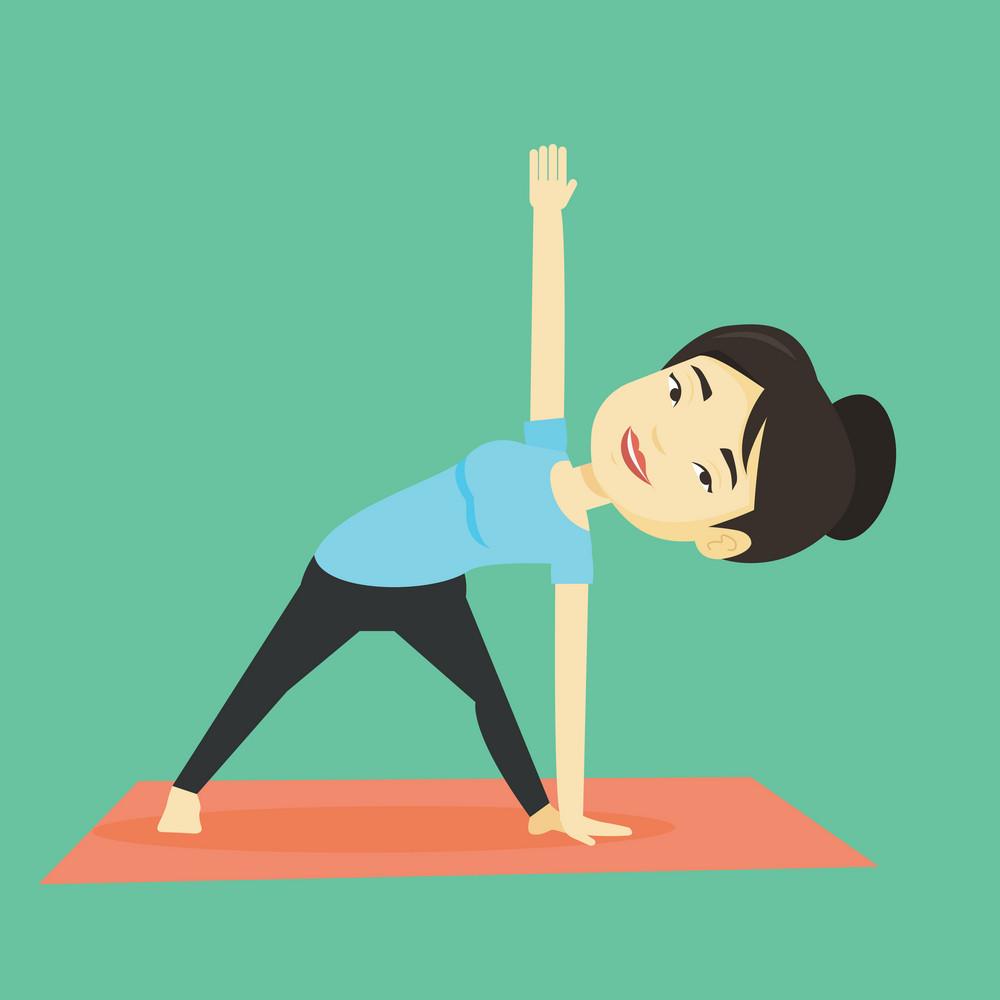 Asian sportswoman meditating in yoga triangle position. Cheerful sportswoman standing in yoga triangle position. Young woman doing yoga on the mat. Vector flat design illustration. Square layout.