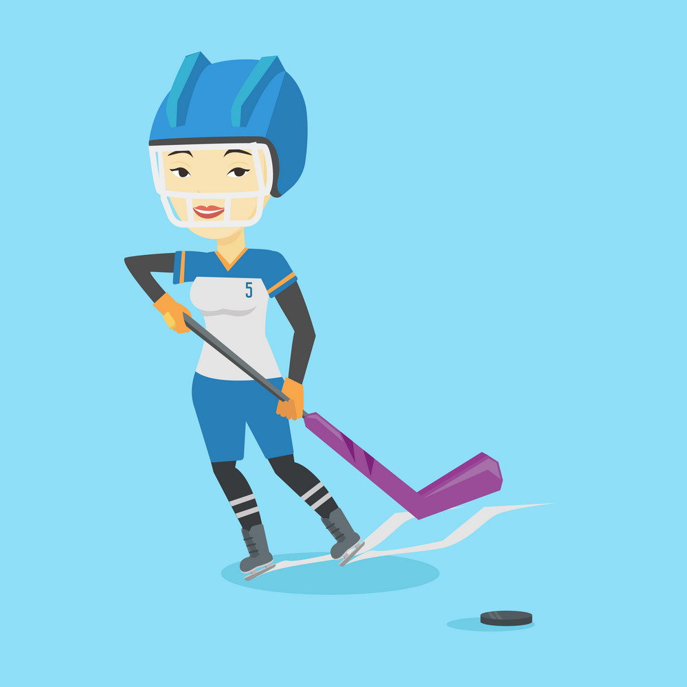 Asian sportswoman playing ice hockey. Young ice hockey player in uniform skating on a rink. Smiling ice hockey player with a stick and puck. Vector flat design illustration. Square layout.