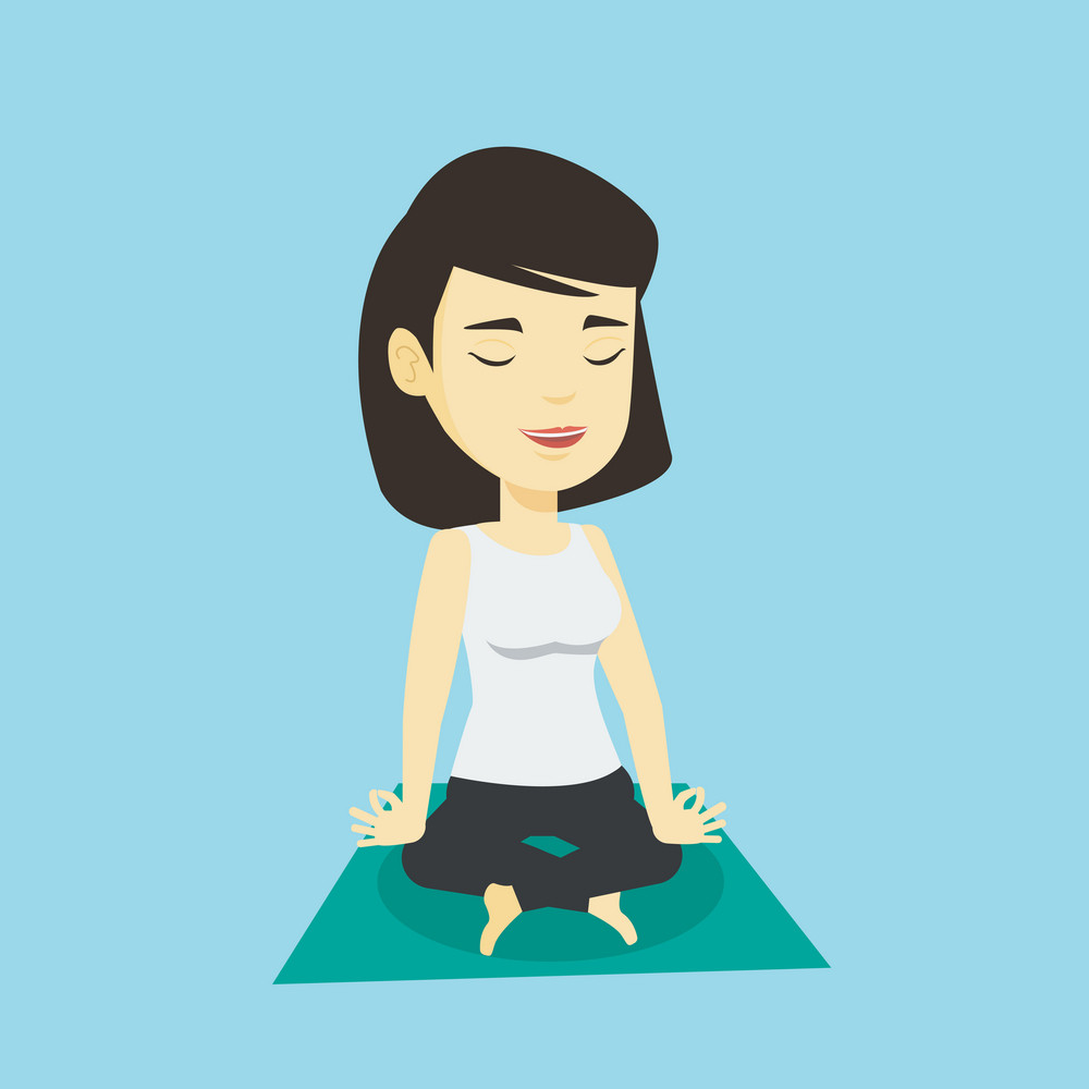 Asian sportswoman relaxing in the yoga lotus position. Young sportswoman meditating in yoga lotus position. Relaxed sporty woman doing yoga on the mat. Vector flat design illustration. Square layout.