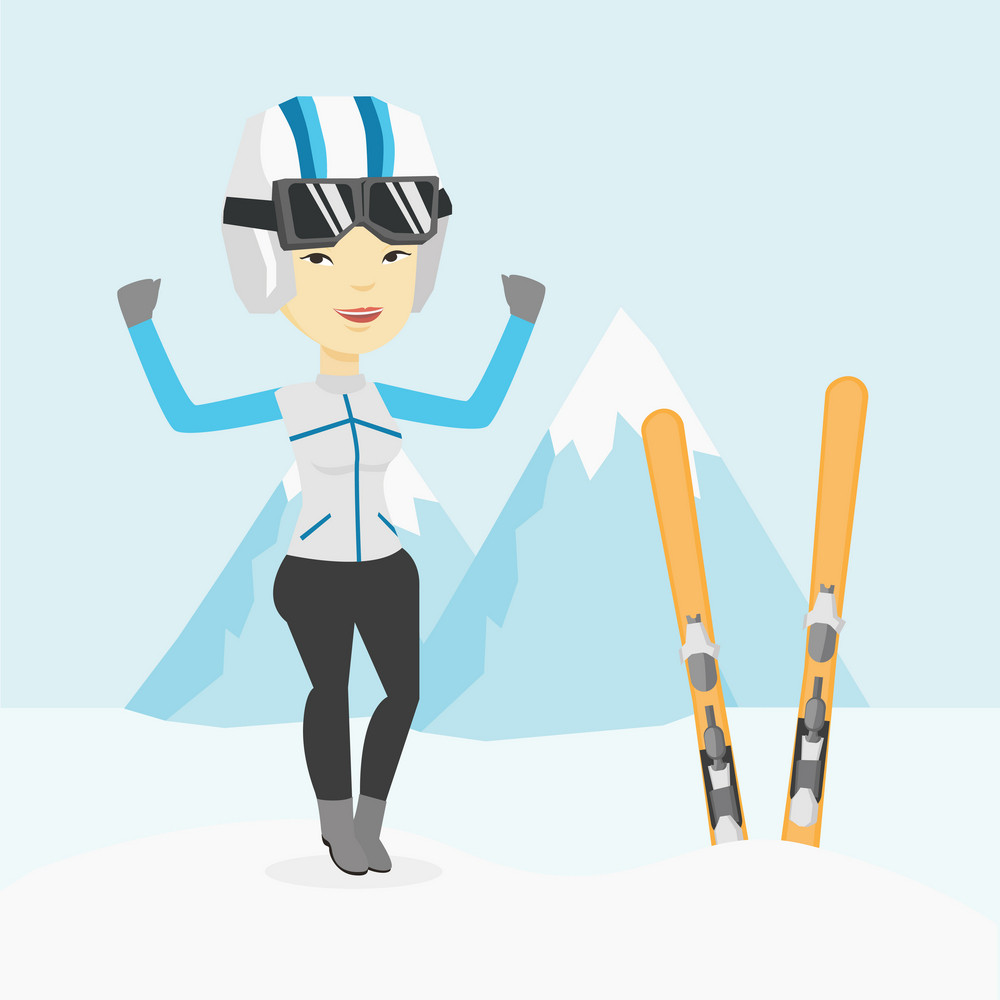 Asian sportswoman standing with skis on the background of snowy mountains. Young woman skiing. Cheerful skier resting in the mountains during sunny day. Vector flat design illustration. Square layout.