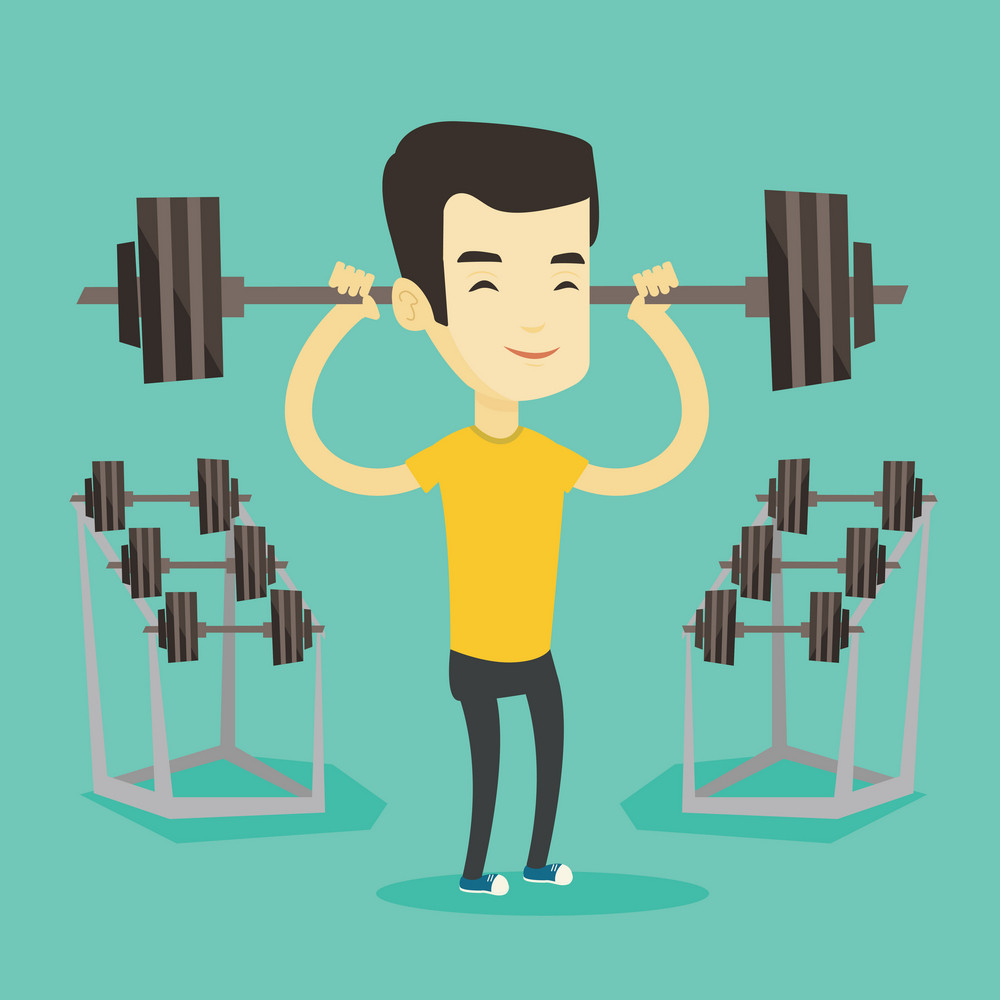 Asian sporty man lifting a heavy weight barbell. Strong weightlifter doing exercise with barbell. Young weightlifter holding a barbell in the gym. Vector flat design illustration. Square layout.